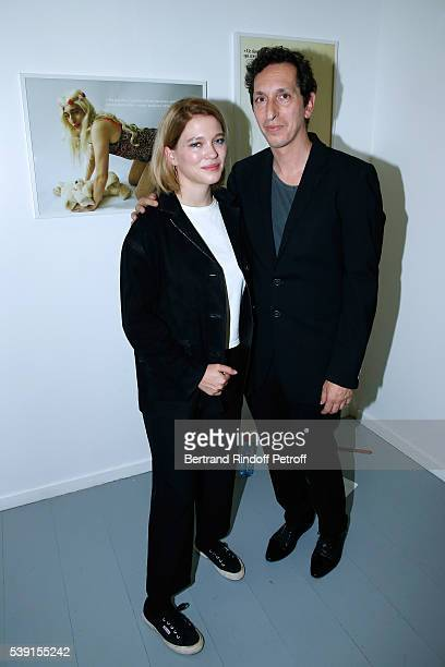 Actress Lea Seydoux and Model of the Exhibition director Stephane Foenkinos attend the '55 Politiques' Exhibition of Stephanie Murat's Pictures...