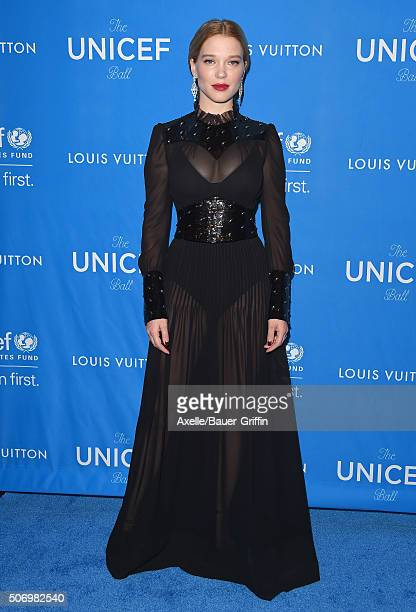 Actress Lea Seydoux arrives at the 6th Biennial UNICEF Ball at the Beverly Wilshire Four Seasons Hotel on January 12 2016 in Beverly Hills California