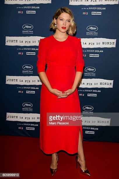 Actress Lea Seydoux attends the 'Juste la Fin du Monde' Premiere at Mk2 Bibliotheque on September 15 2016 in Paris France