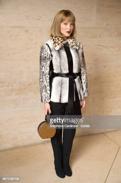 Actress Lea Seydoux attends the Louis Vuitton show as part of the Paris Fashion Week Womenswear Spring/Summer 2018 at Musee du Louvre on October 3...