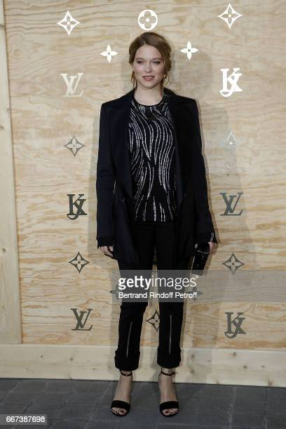 Actress Lea Seydoux attends the LVxKOONS exhibition at Musee du Louvre on April 11 2017 in Paris France