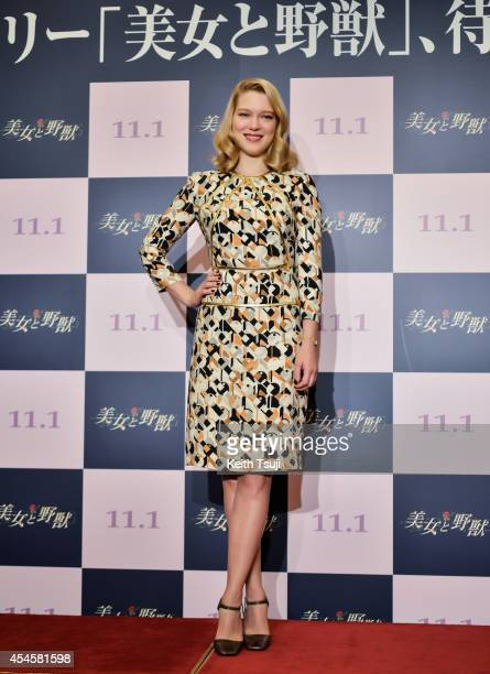 Actress Lea Seydoux attends the press conference for Japan premiere of 'Beauty and The Beast' at Hotel Okura Tokyo on September 4, 2014 in Tokyo,...