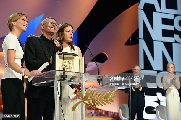 Actress Lea Seydoux director Abdellatif Kechiche and actress Adele Exarchopoulos speak on stage after 'La Vie D'adele' receives the Palme D'or' at...