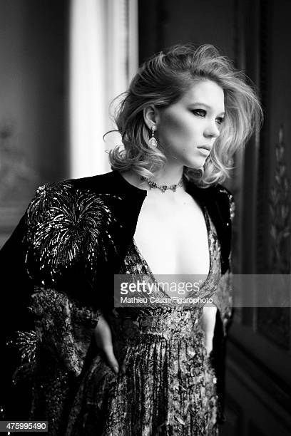 Actress Lea Seydoux is photographed for Madame Figaro on March 25 2015 in Paris France Cape and dress Temptations necklace and earrings Makeup by La...