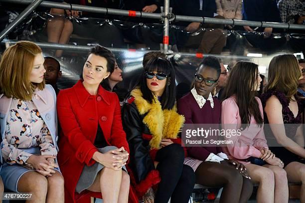 Actress Lea Seydoux Margot Robbie singer Rihanna actresses Lupita Nyong'o and Elizabeth Olsen attend the Miu Miu show as part of the Paris Fashion...