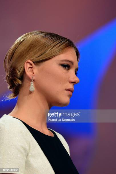 Actress Lea Seydoux on stage after 'La Vie D'adele' receives the Palme D'or' at the Inside Closing Ceremony during the 66th Annual Cannes Film...
