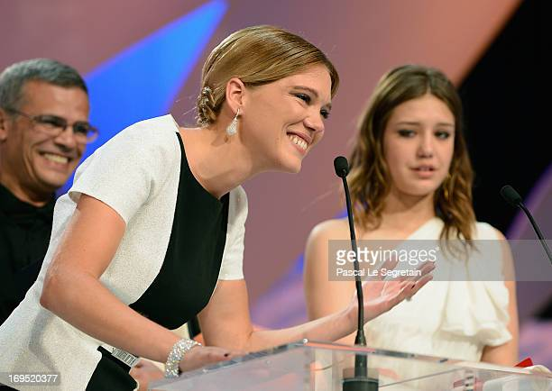 Actress Lea Seydoux speaks on stage after 'La Vie D'adele' receives the Palme D'or' at the Inside Closing Ceremony during the 66th Annual Cannes Film...