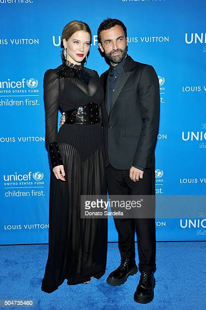 Actress Lea Seydoux wearing Louis Vuitton and Artistic Director for Women at Louis Vuitton Nicolas Ghesquiere attend the Sixth Biennial UNICEF Ball...