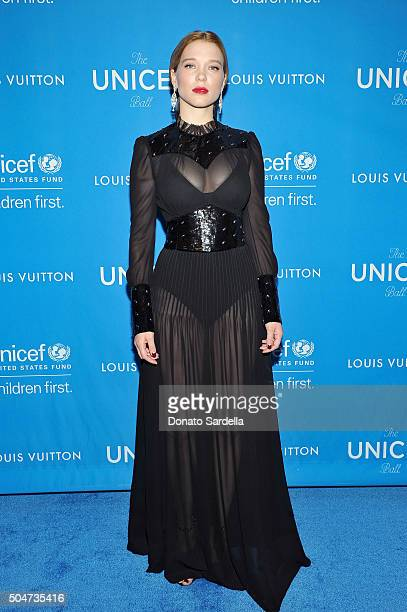 Actress Lea Seydoux wearing Louis Vuitton attends the Sixth Biennial UNICEF Ball Honoring David Beckham and C L Max Nikias presented by Louis Vuitton...