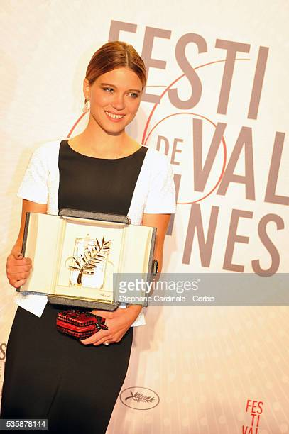 Actress Lea Seydoux winner of the 'Palme d'Or' for 'La Vie D'adele' attends the 'Palme D'Or Winners dinner' during the 66th Cannes International Film...