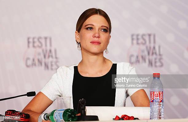 Actress Lea Seydoux winner of the 'Palme d'Or' for 'La Vie D'adele' speaks at the Palme D'Or Winners Press Conference during the 66th Annual Cannes...