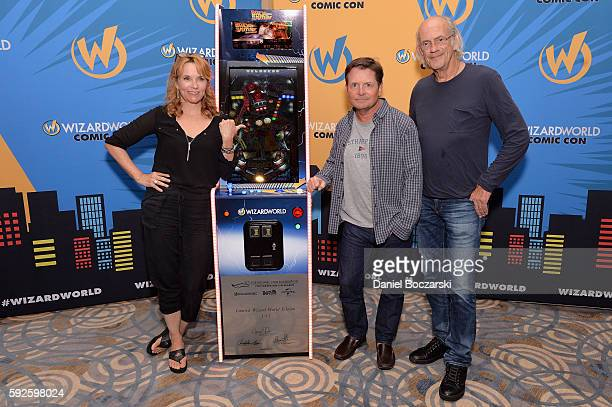 Actress Lea Thompson Actor Michael J Fox and Actor Christopher Lloyd attend Wizard World Comic Con Chicago 2016 Day 3 at Donald E Stephens Convention...
