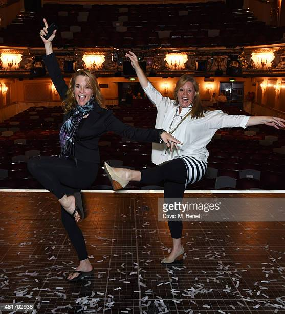 Actress Lea Thompson and Melissa Hayden pose on stage after watching a performance of 'The Curious Incident of the Dog in the NightTime' at The...