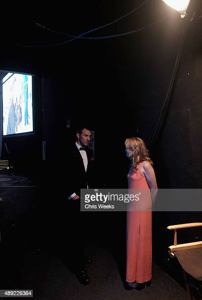 Actress Lea Thompson and TV host Brandon McMillan backstage at the American Humane Association's 5th Annual Hero Dog Awards 2015 at The Beverly...