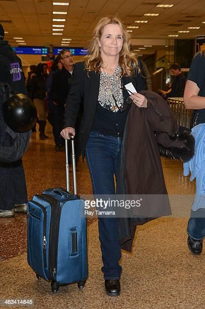 Actress Lea Thompson leaves the Salt Lake City Airport on January 16 2014 in Salt Lake City Utah