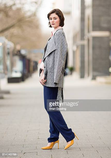 Actress Lea van Acken wearing an outfit by Kilian Kerner and shoes by Zara poses at Savignyplatz on March 3 2016 in Berlin Germany