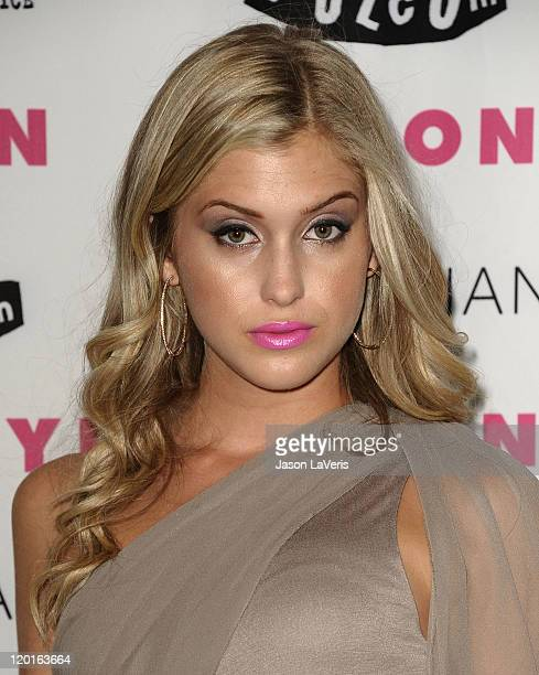 Actress Leah Clark attends the Nylon Magazine August denim issue party at Sky Bar Mondrian Hotel on July 27 2011 in West Hollywood California