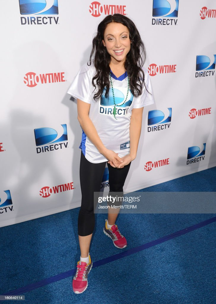 Actress Leah Gibson attends DIRECTV'S Seventh Annual Celebrity Beach Bowl at DTV SuperFan Stadium at Mardi Gras World on February 2, 2013 in New Orleans, Louisiana.