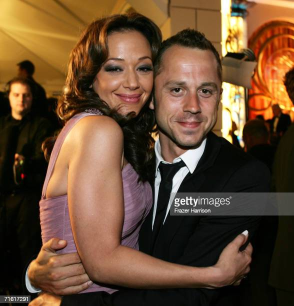 Actress Leah Remini and actor Giovanni Ribisi pose at the Church of Scientology Celebrity Centre 37th Anniversary Gala on August 5 2006 in Hollywood...