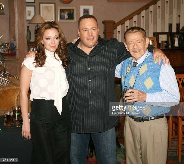 "Actress Leah Remini and actors Kevin James and Jerry Stiller attend the ""King of Queens"" party celebrating the show's 200th episode at Sony Studios..."