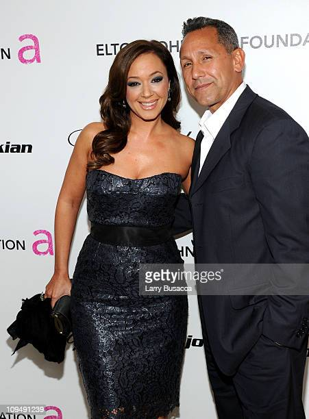 Actress Leah Remini and Angelo Pagan arrive at the 19th Annual Elton John AIDS Foundation Academy Awards Viewing Party at the Pacific Design Center...