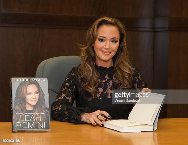 "Actress Leah Remini signs copies of her new book ""Troublemaker: Surviving Hollywood and Scientology"" at Barnes & Noble at The Grove on December 8,..."