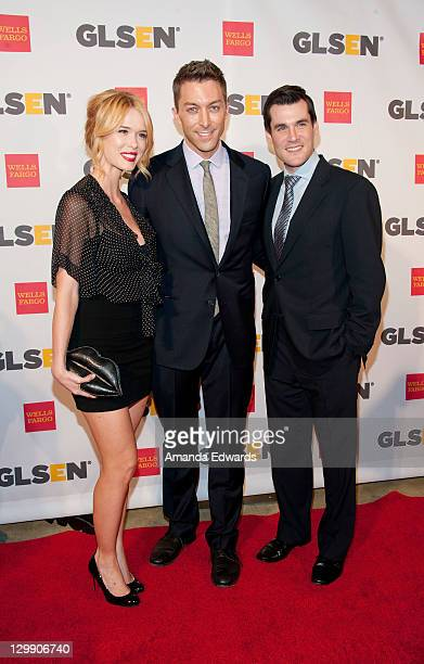 Actress Leah Renee writer Chad Hodge and actor Sean Maher arrive at the GLSEN Respect Awards at the Beverly Hills Hotel on October 21 2011 in Beverly...