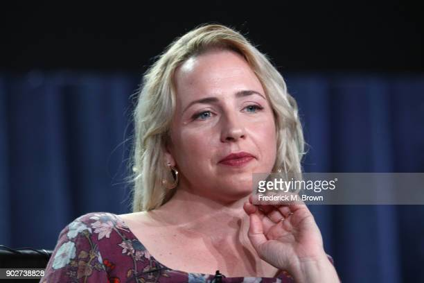 Actress Lecy Goranson of the television show Roseanne listens onstage during the ABC Television/Disney portion of the 2018 Winter Television Critics...