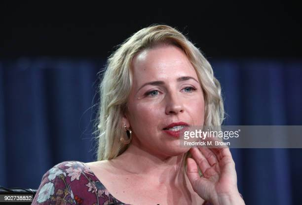 Actress Lecy Goranson of the television show Roseanne speaks onstage during the ABC Television/Disney portion of the 2018 Winter Television Critics...