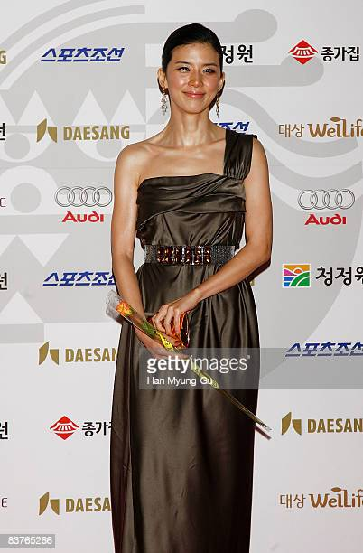 Actress Lee BoYoung poses on the red carpet of the 29th Blue Dragon Film Awards at KBS Hall on November 20 2008 in Seoul South Korea