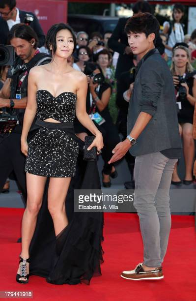 Actress Lee EunWoo and actor Seo Young Joo attend the Moebius Premiere during the 70th Venice International Film Festival at Sala Grande on September...