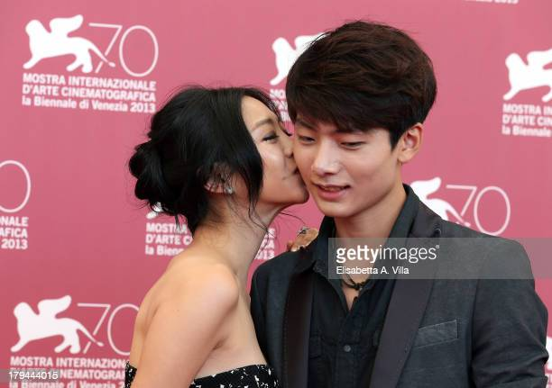 Actress Lee EunWoo and actor Seo Young Ju attend the Moebius Photocall during the 70th Venice International Film Festival at Sala Grande on September...