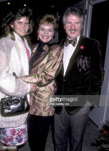 Actress Lee Meriwether husband Marshall Borden and her daughter Lesley Aletter attend the 'Party for Celebrity Focus Magazine' on December 2 1986 at...