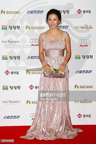 Actress Lee MiSook poses on the red carpet of the 29th Blue Dragon Film Awards at the KBS Hall on November 20 2008 in Seoul South Korea