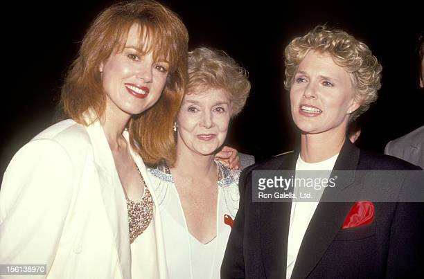 Actress Lee Purcell actress Peggy McKay and actress Sharon Gless attend the 43rd Annual Primetime Emmy Awards Nominees Cocktail Party on August 20...