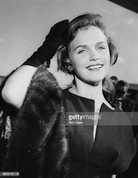 Actress Lee Remick pictured arriving at London Airport August 30th 1959