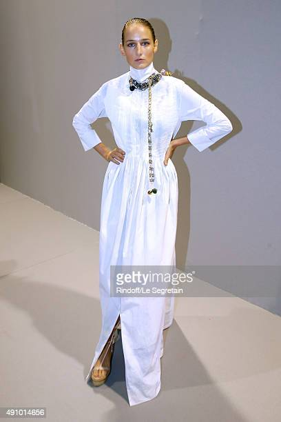 Actress Leelee Sobieski poses Backstage after the Christian Dior show as part of the Paris Fashion Week Womenswear Spring/Summer 2016 Held at Cour...