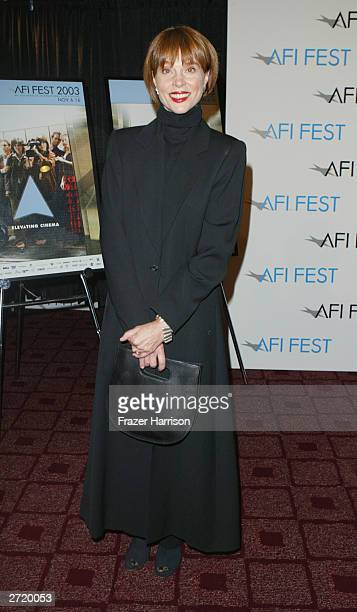 Actress Leigh TaylorYoung arrives for the American Film Institute Festival Tribute to Omar Sharif held at the Arclight Theatre November 11 2003 in...