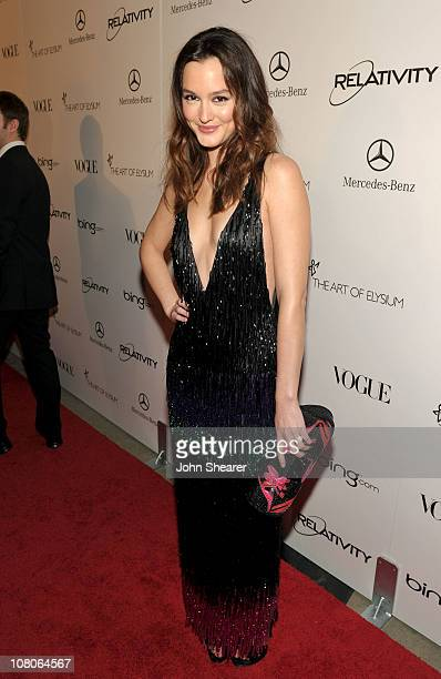 Actress Leighton Meester arrives at the 2011 Art Of Elysium Heaven Gala held at the California Science Center on January 15 2011 in Los Angeles...