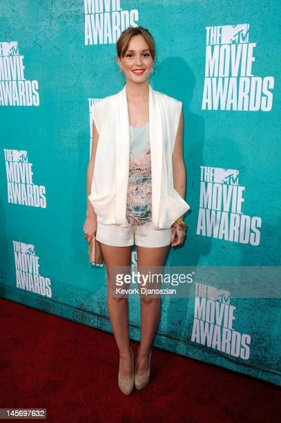 Actress Leighton Meester arrives at the 2012 MTV Movie Awards at Gibson Amphitheatre on June 3 2012 in Universal City California