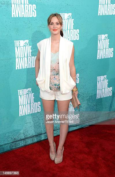 Actress Leighton Meester arrives at the 2012 MTV Movie Awards held at Gibson Amphitheatre on June 3 2012 in Universal City California