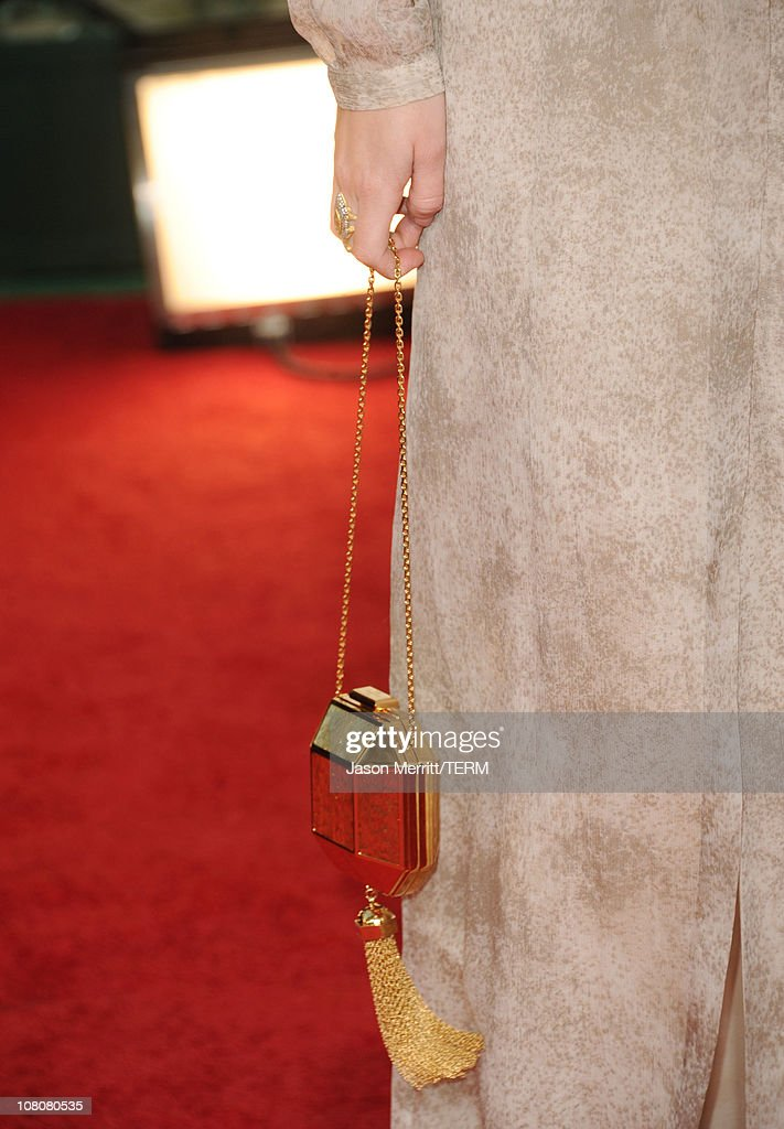 Actress Leighton Meester (handbag detail) arrives at the 68th Annual Golden Globe Awards held at The Beverly Hilton hotel on January 16, 2011 in Beverly Hills, California.