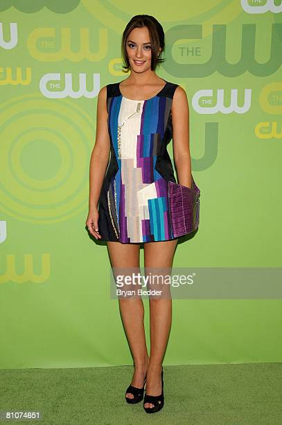 Actress Leighton Meester arrives at the CW Network's Upfront at Lincoln Center on May 13 2008 in New York City
