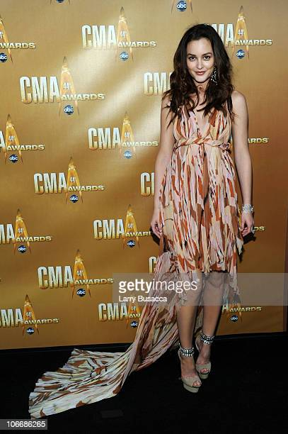 Actress Leighton Meester attends the 44th Annual CMA Awards at the Bridgestone Arena on November 10 2010 in Nashville Tennessee
