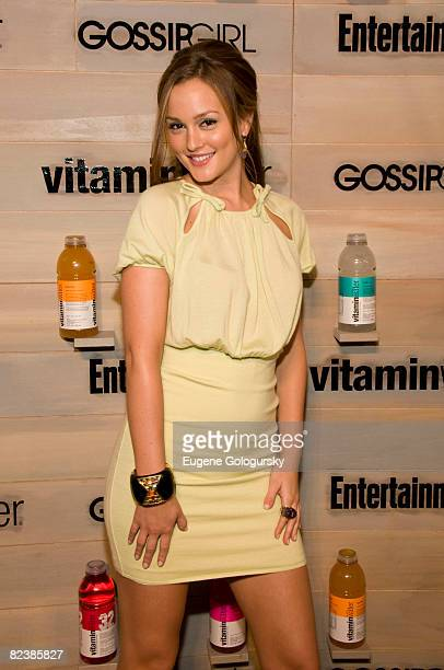 """Actress Leighton Meester attends the Hamptons bash hosted by Vitaminwater at the EMM Group Estate for the CW network's """"Gossip Girl"""" premiering..."""