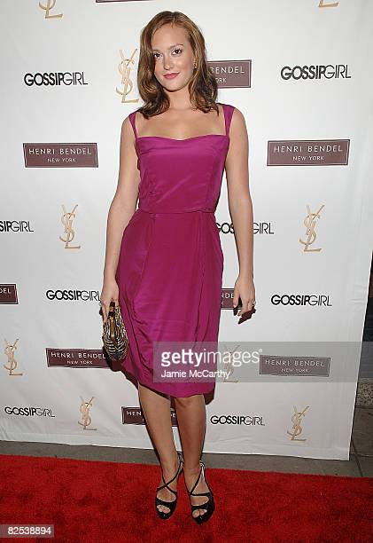 "Actress Leighton Meester attends the Henri Bendel and YSL Beaute celebration of ""Gossip Girl"" Season 2 at Henri Bendel on August 24, 2008 in New York..."