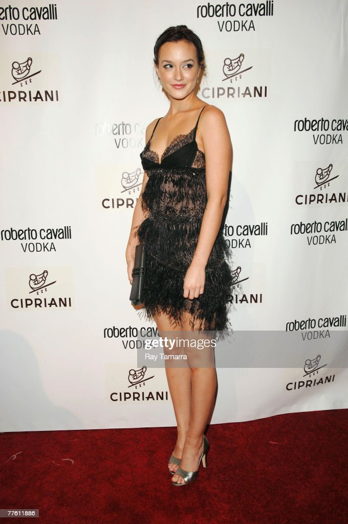 actress leighton meester attends the roberto cavalli vodka and giuseppe cipriani halloween party at cipriani
