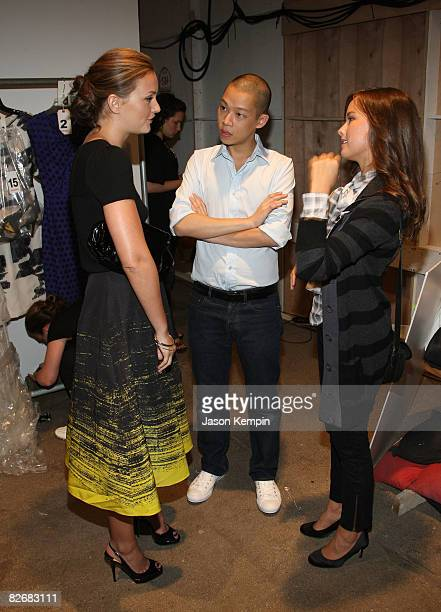 Actress Leighton Meester fashion designer Jason Wu and actress Allison Miller attend the Jason Wu Spring 2009 at Exit Art on September 5 2008 in New...