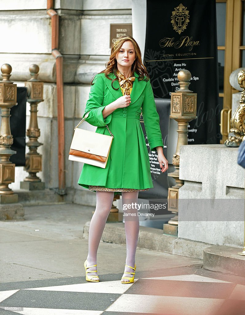 Actress Leighton Meester films on location for 'Gossip Girl' on the streets of Manhattan on March 16, 2009 in New York City.
