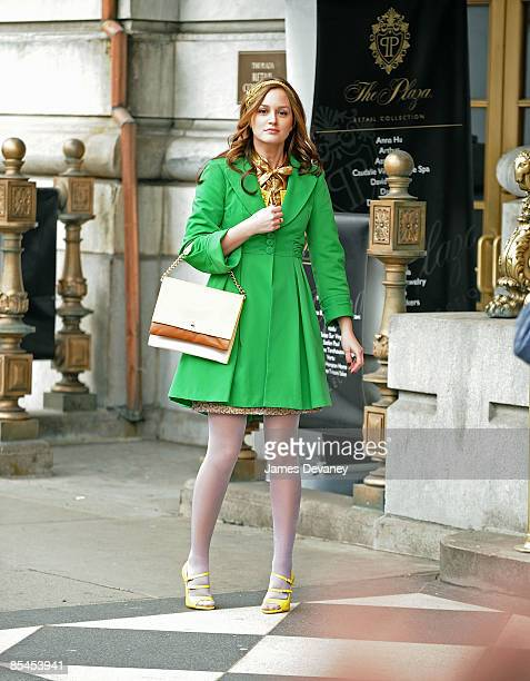 Actress Leighton Meester films on location for 'Gossip Girl' on the streets of Manhattan on March 16 2009 in New York City